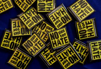 A photo of many No Place for Hate lapel pins